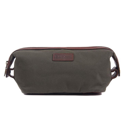 Barbour ACCESSORIES - TRAVEL - SHAVE KIT Barbour, Drywax and Leather Convertible Washbag, Olive