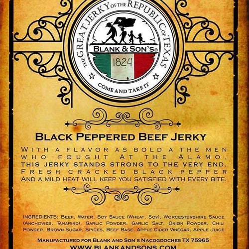 Blank & Sons HOME - KITCHEN - FOOD Blank & Sons, Alamo Black Pepper Beef Jerky