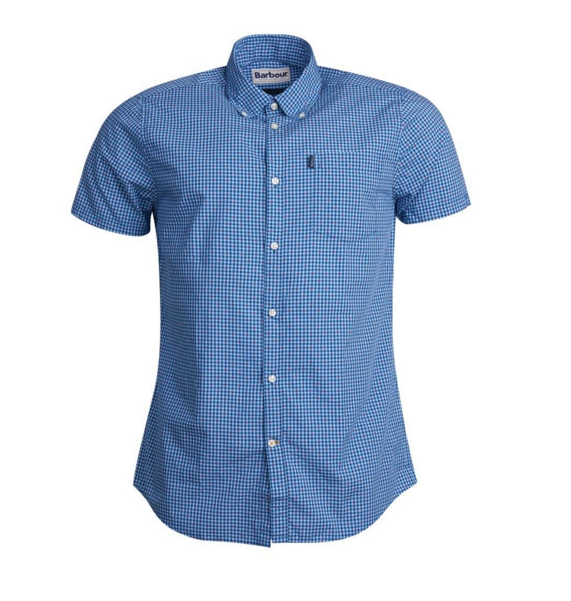 Barbour, Hector Short Sleeve Tailored Shirt, Mid Blue