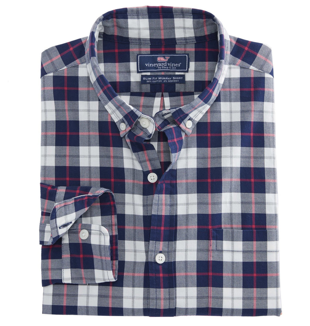 Vineyard Vines MEN - SHIRTS - BUTTON DOWNS Blue / XL Vineyard Vines, Riverbank Plaid Slim Murray Shirt, Katama Bay