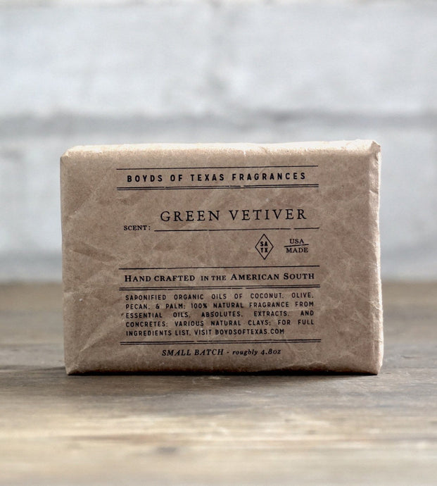 Boyd's of Texas Fragrances ACCESSORIES - GROOMING - SHOWER Boyd's of Texas Fragrances, Green Vetiver - Natural Bar Soap