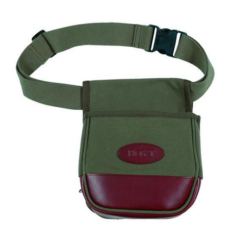 Boyt Harness Company FIELDDOG - HUNTING - SHOOTING BAGS Boyt, Signature Series Canvas & Leather Shell Pouch, OD Green