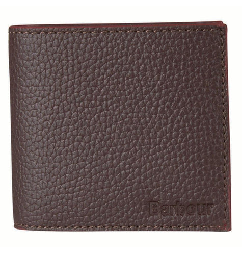 Barbour ACCESSORIES - WALLETS - BIFOLDTRIFOLD Brown / OS Barbour, Grain Leather Billfold Wallet, Dark Brown