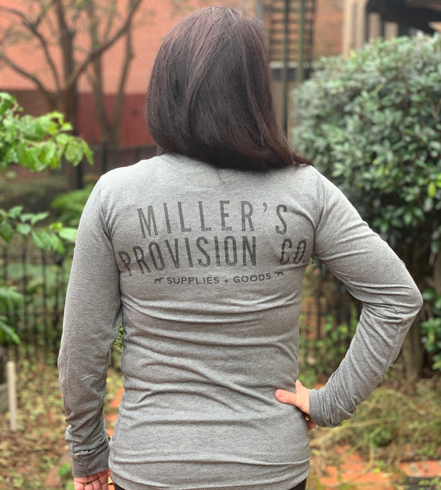 Miller's Provision Co. MEN - SHIRTS - LONG SLEEVE T-SHIRTS Gray / S Miller's Provision Co., Original Logo Long Sleeve T-Shirt, Heather Gray