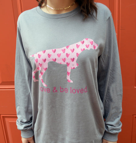 Miller's Provision Co. WOMEN - SHIRTS - LONG SLEEVE TEES Gray / XXL Miller's Provision Co., Love And Be Loved Pointer Long Sleeve T-Shirt, Gray