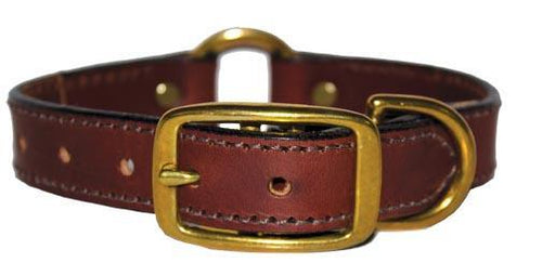 Miller's Point FIELDDOG - DOG - DOG COLLAR Miller's Point, Leather Dog Collar with Center Ring, 3/4