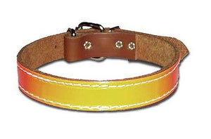 Miller's Point FIELDDOG - DOG - DOG COLLAR Miller's Point, Leather with Reflective Strip Dog Collar, Chestnut