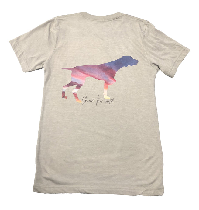 Miller's Provision Co. WOMEN - SHIRTS - SHORT SLEEVE TEES Miller's Provision Co., Chase The Sunset V-Neck Short Sleeve T-Shirt, Heather Stone