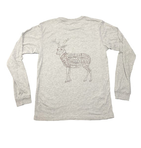 Miller's Provision Co. MEN - SHIRTS - LONG SLEEVE T-SHIRTS Miller's Provision Co., Cuts Of Venison Long Sleeve T-Shirt, Athletic Heather Gray