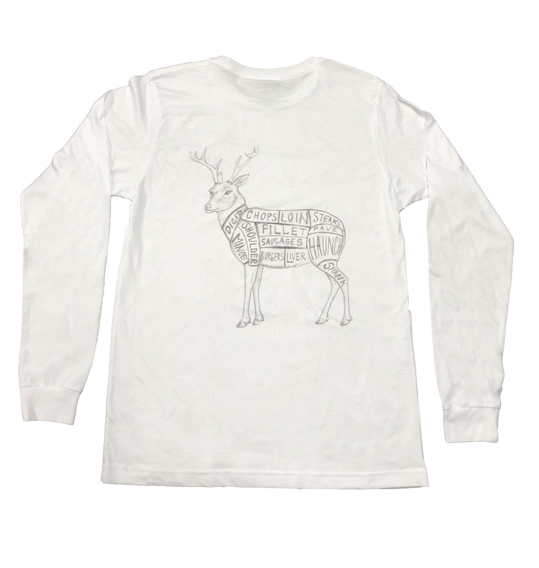 Miller's Provision Co. MEN - SHIRTS - LONG SLEEVE T-SHIRTS Miller's Provision Co., Cuts Of Venison Long Sleeve T-Shirt, White