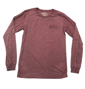 Miller's Provision Co. WOMEN - SHIRTS - LONG SLEEVE TEES Miller's Provision Co., Fashion In The Field Long Sleeve T-Shirt, Maroon Tri-Blend