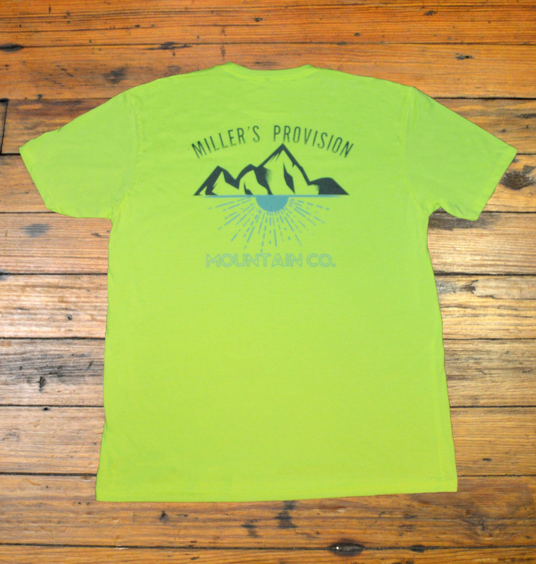 Miller's Provision Co. MEN - SHIRTS - SHORT SLEEVE T-SHIRTS Miller's Provision Co., Mountain Sunset Short Sleeve T-Shirt, Neon Yellow