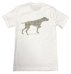 Miller's Provision Co. MEN - SHIRTS - SHORT SLEEVE T-SHIRTS Miller's Provision Co., Old School Camo Pointer Short Sleeve T-Shirt, White
