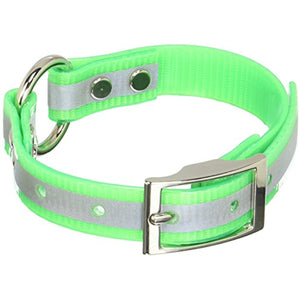Miller's Provision Co. FIELDDOG - DOG - DOG COLLAR Miller's Provision Co., Reflective Stripe Dog Collar with Center Ring, Neon Green