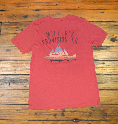 Miller's Point- From the Office to the Field Miller's Provision Co., Sunset Trout Short Sleeve T-Shirt, Red