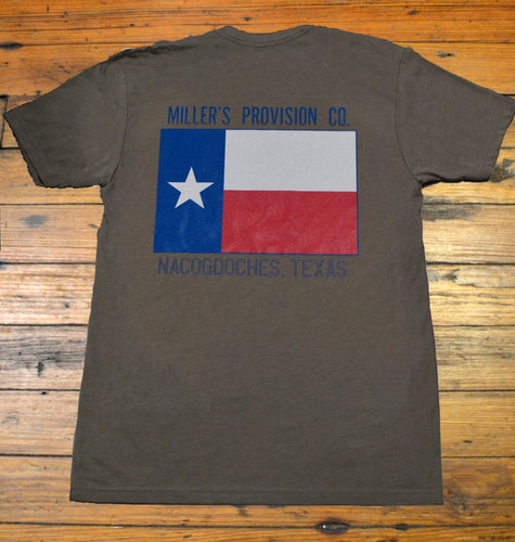 Miller's Provision Co. MEN - SHIRTS - SHORT SLEEVE T-SHIRTS Miller's Provision Co., Texas Flag Short Sleeve T-Shirt, Mojave