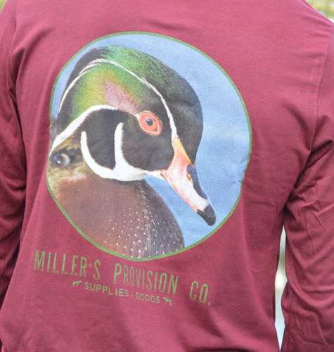 Miller's Provision Co. MEN - SHIRTS - LONG SLEEVE T-SHIRTS Miller's Provision Co., Woodie In The Water Long Sleeve, Heather Cardinal