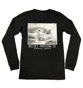 Miller's Provision Co. KIDS - BOYS - T-SHIRTS Miller's Provision Co., Youth Dog Days of Duck Season Long Sleeve T-Shirt, Black
