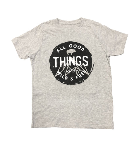 Miller's Provision Co. KIDS - BOYS - T-SHIRTS Miller's Provision Co., Youth Wild and Free T-Shirt, Heather Gray
