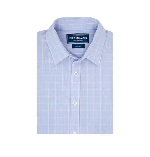 Mizzen & Main MEN - SHIRTS - BUTTON DOWNS Mizzen & Main, Cassady Trim Fit, Blue and Pink Plaid