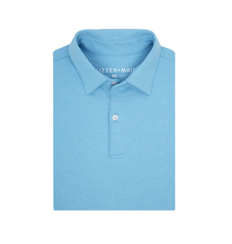 Mizzen & Main MEN - SHIRTS - POLOS Mizzen & Main, Hackett Polo, Heathered Azure Blue
