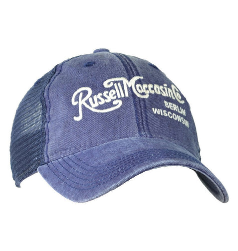Russell Moccasin Co. ACCESSORIES - HATS - TRUCKER Russell Moccasin Co., 1928 Russell Moccasin Script Logo Cap, Navy