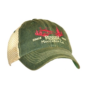 Russell Moccasin Co. ACCESSORIES - HATS - TRUCKER Russell Moccasin Co., Field Cap, Green/Tan