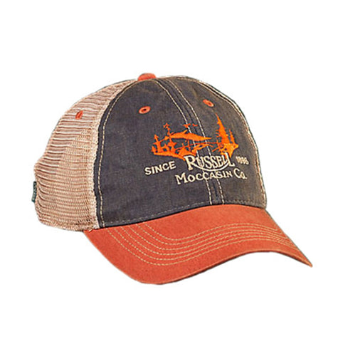 Russell Moccasin Co. ACCESSORIES - HATS - TRUCKER Russell Moccasin Co., Field Cap, Navy/Orange/Tan