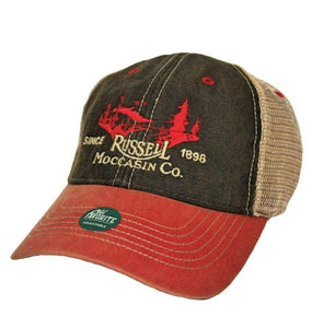 Russell Moccasin Co. ACCESSORIES - HATS - TRUCKER Russell Moccasin Co., Fierld Cap, Red/Black/Tan