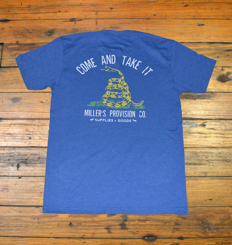 Miller's Provision Co. MEN - SHIRTS - SHORT SLEEVE T-SHIRTS S Miller's Provision Co., Come And Take It Short Sleeve T-Shirt, Heather Blue
