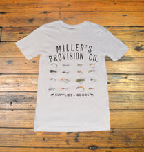 Load image into Gallery viewer, Miller's Provision Co. MEN - SHIRTS - SHORT SLEEVE T-SHIRTS S Miller's Provision Co., Fly Fishing Flies Short Sleeve T-Shirt, White