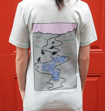 Load image into Gallery viewer, Miller's Provision Co. MEN - SHIRTS - SHORT SLEEVE T-SHIRTS S Miller's Provision Co., Listen To The River Short Sleeve T-Shirt, Heather Ice Blue