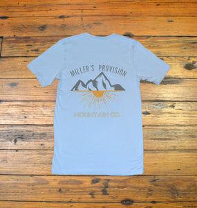 Miller's Provision Co. MEN - SHIRTS - SHORT SLEEVE T-SHIRTS S Miller's Provision Co., Mountain Sunset Short Sleeve T-Shirt, Sky Blue