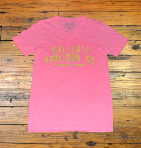 Miller's Provision Co. WOMEN - SHIRTS - SHORT SLEEVE TEES S Miller's Provision Co., Neon Logo Short Sleeve V-Neck, Hot Pink