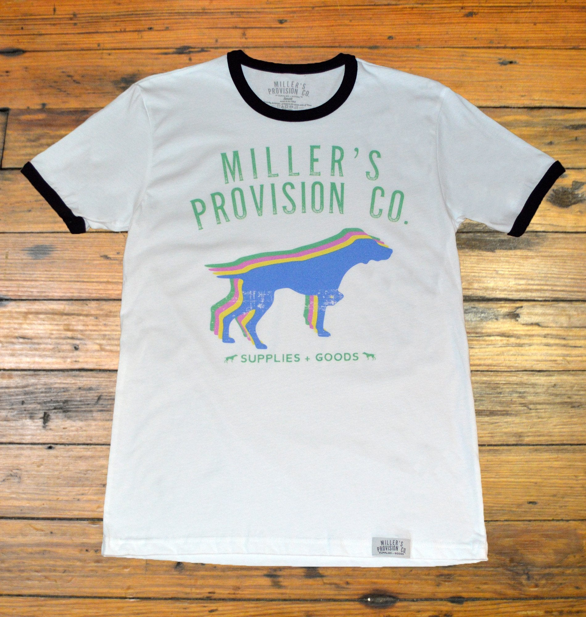 452408553fe8 Miller's Provision Co., Neon Pointers Short Sleeve Ringer T-Shirt, White –  Miller's Point- From the Office to the Field