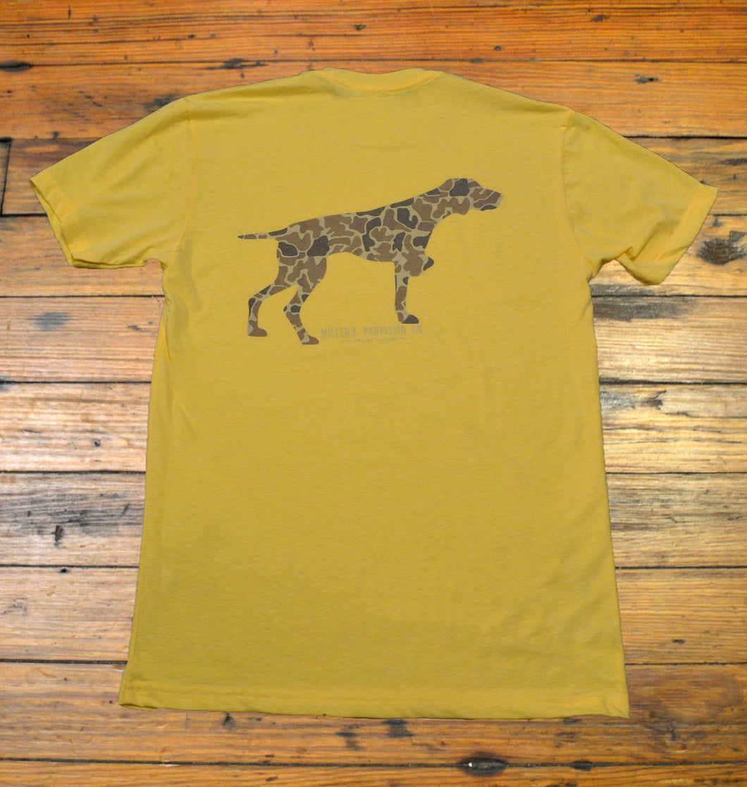 Miller's Provision Co. MEN - SHIRTS - SHORT SLEEVE T-SHIRTS S Miller's Provision Co., Old School Camo Pointer Short Sleeve T-Shirt, Yellow