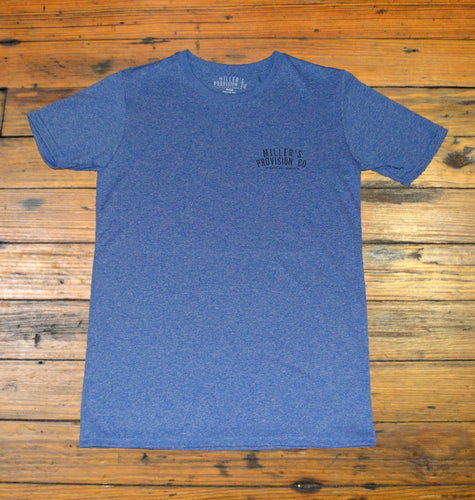 Miller's Provision Co. MEN - SHIRTS - SHORT SLEEVE T-SHIRTS S Miller's Provision Co., Performance Logo Short Sleeve T-Shirt, Heather Navy