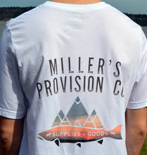 Load image into Gallery viewer, Miller's Provision Co. MEN - SHIRTS - SHORT SLEEVE T-SHIRTS S Miller's Provision Co., Sunset Trout Short Sleeve T-Shirt, White