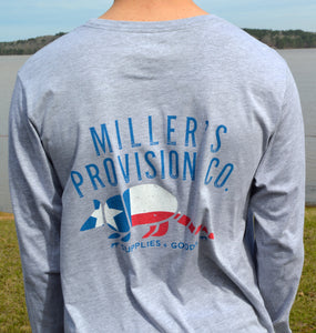 Miller's Provision Co. MEN - SHIRTS - LONG SLEEVE T-SHIRTS S Miller's Provision Co., Texas Armadillo Long Sleeve T-Shirt, Heather Gravel