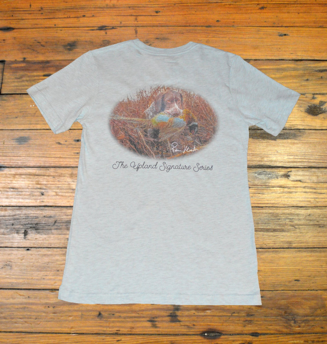 Miller's Provision Co., Upland Signature Series Short Sleeve T-Shirt - Number One, Heather Ice Blue
