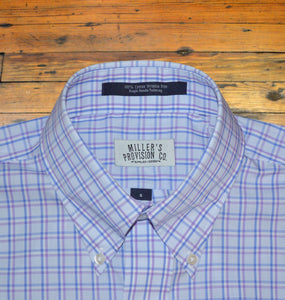 Miller's Provision Co. MEN - SHIRTS - BUTTON DOWNS S Miller's Provision Co., Windowpane Sport Shirt, Lavender