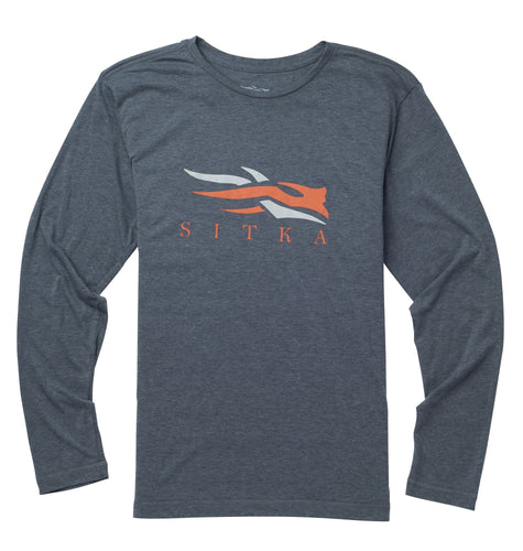 Sitka MEN - SHIRTS - LONG SLEEVE T-SHIRTS S Sitka, Logo Tee Long Sleeve, Lead Heather