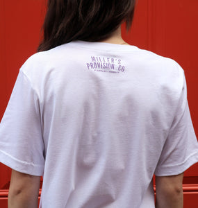 Miller's Provision Co. MEN - SHIRTS - SHORT SLEEVE T-SHIRTS S / White Miller's Provision Co., Local Short Sleeve T-Shirt, Purple