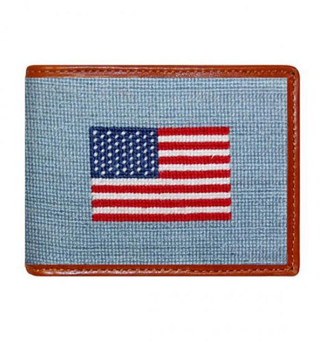 Smathers & Branson ACCESSORIES - WALLETS - BIFOLDTRIFOLD Smathers & Branson, American Flag Needlepoint Bi-Fold Wallet, Antique Blue