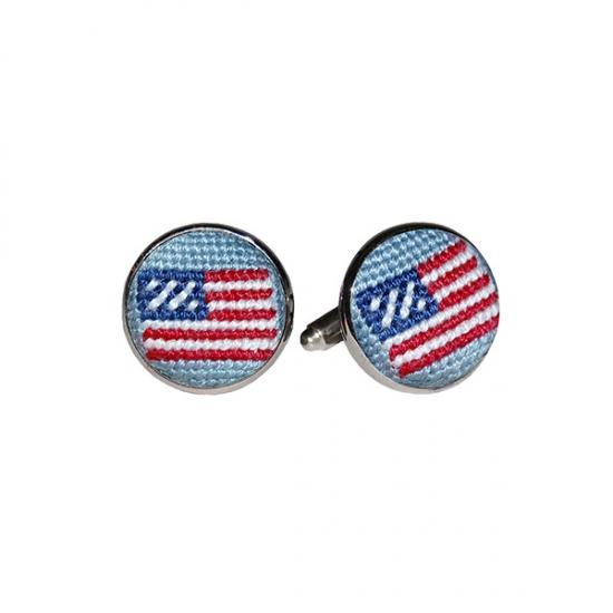 Smathers & Branson ACCESSORIES - CUFFLINKS - SCENE Smathers & Branson, American Flag Needlepoint Cufflinks, Antique Blue