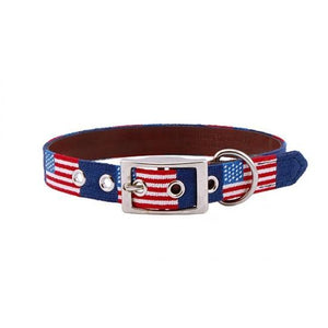 Smathers & Branson FIELDDOG - DOG - DOG COLLAR Smathers & Branson, American Flag Needlepoint Dog Collar