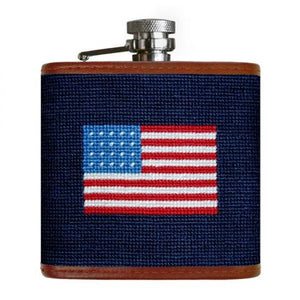Smathers & Branson HOME - DRINKWARE - Flask Smathers & Branson, American Flag Needlepoint Flask