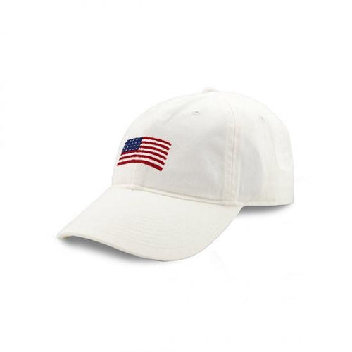 Smathers & Branson ACCESSORIES - HATS - BASEBALL Smathers & Branson, American Flag Needlepoint Hat, White