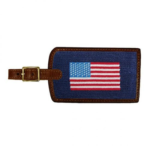 Smathers & Branson ACCESSORIES - TRAVEL - LUGGAGE TAGS Smathers & Branson, American Flag Needlepoint Luggage Tag