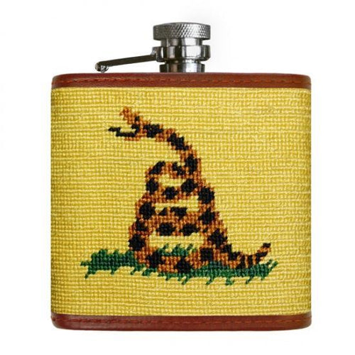 Smathers & Branson HOME - DRINKWARE - Flask Smathers & Branson, Gadsden Flag Needlepoint Flask